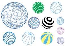 вектор шариков установленный глобусами иллюстрация вектора
