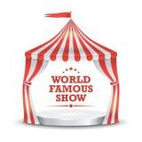 Вектор шатра цирка красные нашивки белые Шатер шатёр цирка шаржа классический изолированная иллюстрация руки кнопки нажимающ женщ бесплатная иллюстрация
