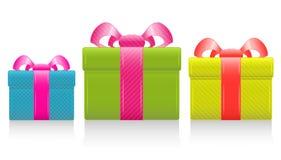 вектор шелка подарка коробки смычка Стоковое Изображение