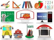 вектор школы иллюстрации иконы образования установленный Стоковое фото RF