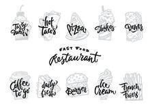 Вектор шрифтов литерности стиля меню винтажными ретро декоративными каллиграфическими установленный текстами Стоковые Изображения RF
