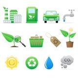 вектор экологичности установленный иконами иллюстрация вектора