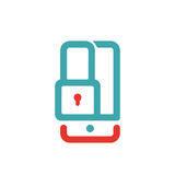 Вектор экрана замка Smartphone красный и голубой Стоковое Изображение RF