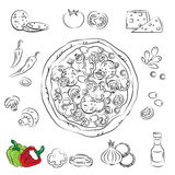 вектор эскиза пиццы собрания Стоковое Изображение