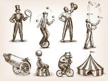Вектор эскиза ретро представления цирка установленный Стоковые Фотографии RF