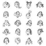Вектор эскиза чертежа руки стороны девушки установил на белую предпосылку бесплатная иллюстрация