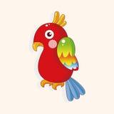 Вектор элементов темы шаржа попугая птицы, eps иллюстрация вектора