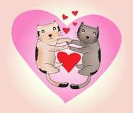 Вектор любовника котов, валентинки любовник кота, вектор котов Стоковые Изображения RF