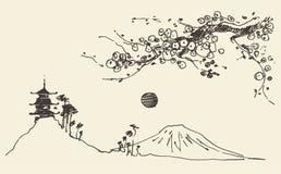 Вектор Японии цветений пагоды горы Фудзи эскиза Стоковые Изображения RF