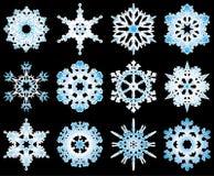 вектор 12 снежинок собрания Стоковое Изображение