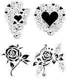 вектор 2 роз сердец Стоковые Изображения RF