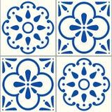 Вектор Azulejos португальский кроет картину черепицей, комплект дизайна плитки сини индиго Лиссабона безшовный, испанскую предпос бесплатная иллюстрация
