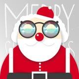 вектор claus santa Счастливые Новый Год и иллюстрация рождества сформируйте просто Плоский дизайн стоковое изображение