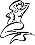 Вектор Clipart дизайна шаржа русалки Стоковая Фотография