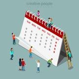 Вектор 3d план-графика календаря плоский равновеликий Стоковые Фотографии RF