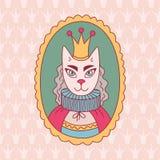 Вектор doodle портрета ферзя кота Стоковые Фотографии RF