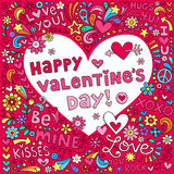 Вектор Doodle тетради влюбленности сердца дня валентинок иллюстрация штока