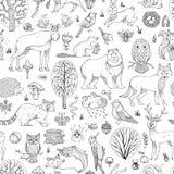 Вектор doodles картина полесья безшовная Стоковые Фотографии RF