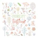 Вектор doodles комплект рождества леса Стоковое Изображение RF