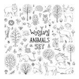 Вектор doodles установленные животные полесья Стоковые Фотографии RF