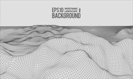 вектор EPS10 местности 3D Wireframe широкоформатный Стоковые Изображения RF