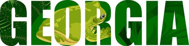 Вектор Georgia - слово американского штата с зеленой древесной лягушкой Стоковая Фотография