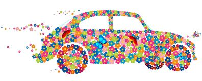 вектор hippie автомобиля жука Стоковые Фотографии RF