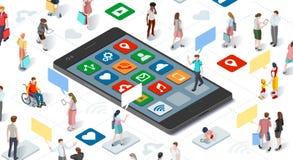Вектор Infographic Smartphone людей соединяясь равновеликий Стоковое фото RF