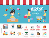 Вектор infographics покупок Стоковое Изображение
