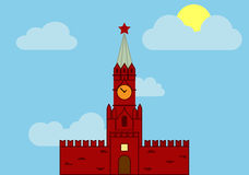 Вектор Kremil башни Spasskaya плоский Иллюстрация штока