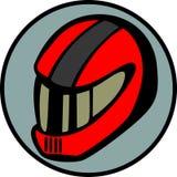 вектор motorcyclist шлема водителя автомобиля участвуя в гонке Стоковое Изображение