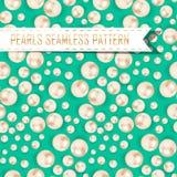 Вектор pearls безшовная картина на предпосылке цвета Стоковая Фотография RF