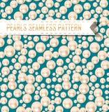 Вектор pearls безшовная картина на предпосылке цвета Стоковые Фото