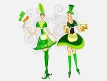 вектор st patrick s девушок дня ирландский Стоковая Фотография