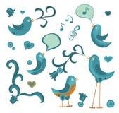 вектор tweet птиц Стоковые Изображения