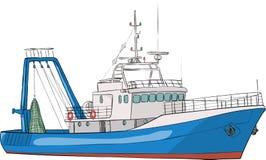 вектор viet nam рыболовства danang шлюпки пляжа Стоковое Изображение RF
