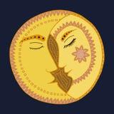 Вектор zentangl луны Человек и женщина в влюбленности Поцелуй и романс Стоковое Изображение