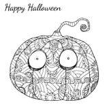 Вектор zentangle тыквы в хеллоуине Стоковые Изображения