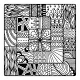 Вектор Zentangle для книжка-раскраски doodle, мандала Стоковое Фото