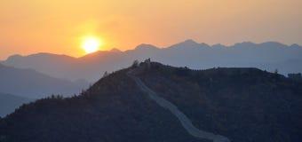 Великая Китайская Стена в заходе солнца Стоковое Изображение RF