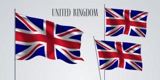 Великобритания комплекта флага Великобритании развевая иллюстрации вектора Стоковые Изображения