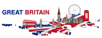 Великобритания с ориентир ориентиром и значком Англии бесплатная иллюстрация