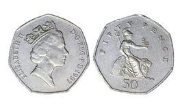 Великобританская старая монетка, год 1997 стоковое фото rf