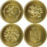 великобританские деньги золота монетки один вектор фунта установленный Стоковые Фото