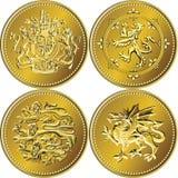 великобританские деньги золота монетки один вектор фунта установленный Стоковое фото RF