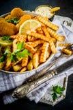 Великобританские еда, рыбы и обломоки стоковое изображение rf