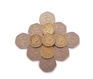 великобританские монетки Великобритания Стоковая Фотография