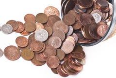 Великобританские пенни Монетки Стоковая Фотография