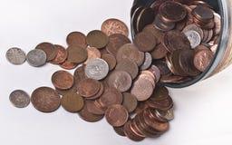 Великобританские пенни Монетки Стоковое Изображение