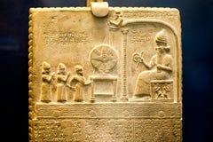 ВЕЛИКОБРИТАНСКИЙ МУЗЕЙ - таблетка бога Солнця - 860-850 до Рождества Христова, висок Shamash, Sippar, северный Ирак Стоковые Фотографии RF